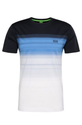 T-shirt regular fit in cotone con motivo a righe: 'Tee 12', Blu scuro
