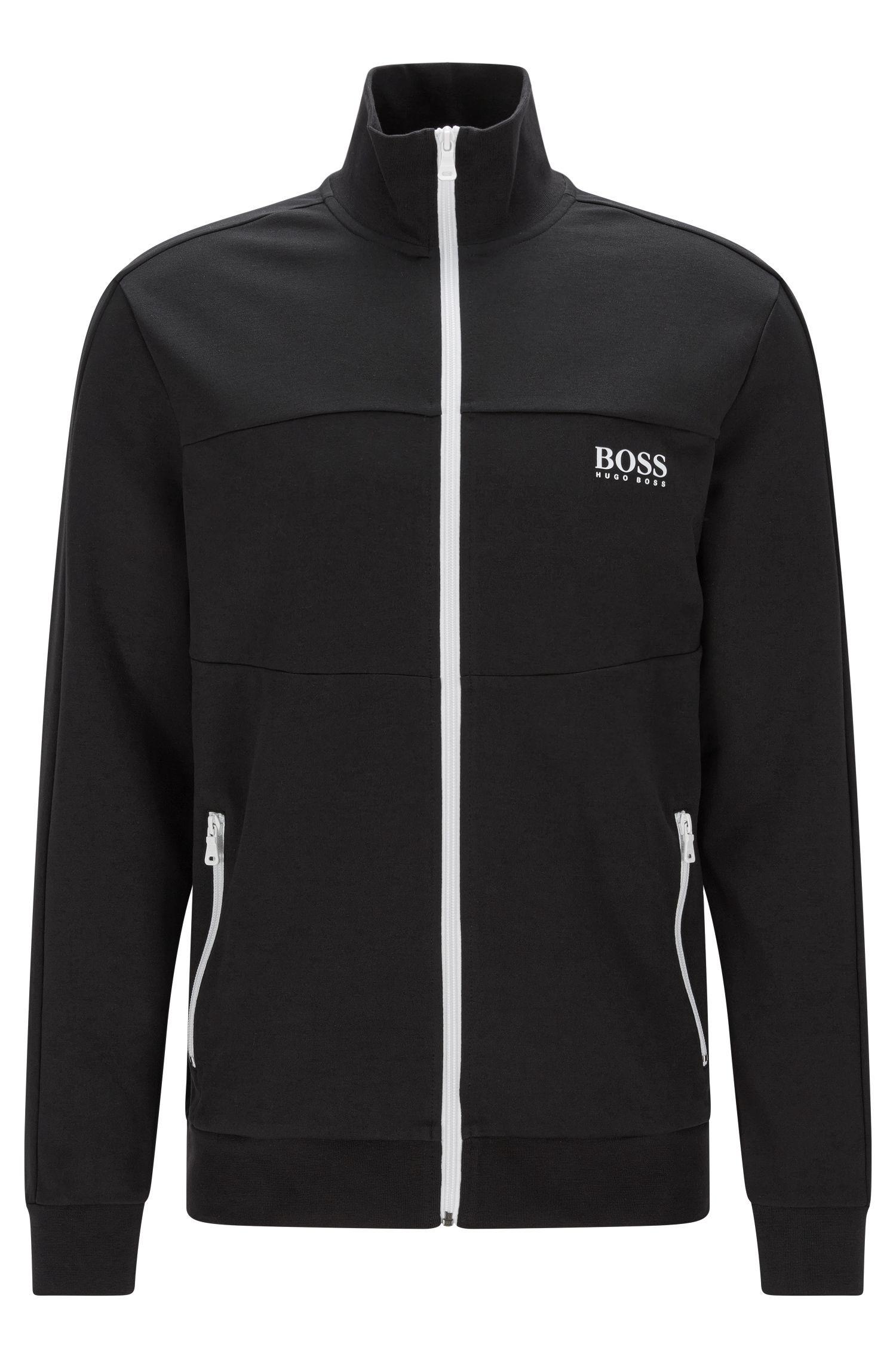 Regular-fit sweatvest van een katoenmix: 'Jacket Zip'