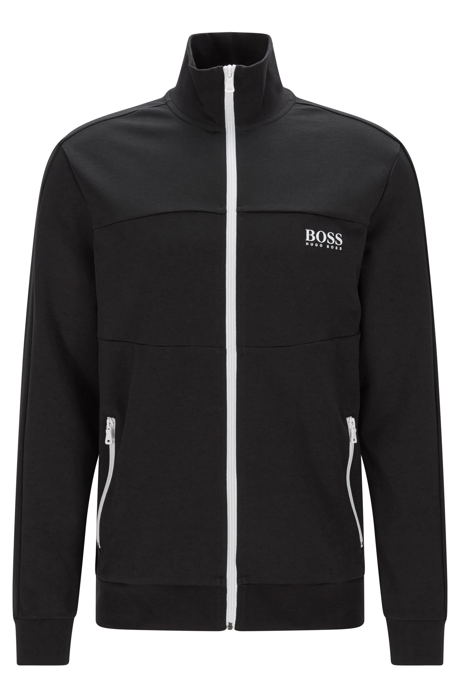 Regular-fit sweatshirt jacket in a cotton blend: 'Jacket Zip'