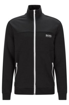 Regular-fit sweatshirt jacket in a cotton blend: 'Jacket Zip', Black