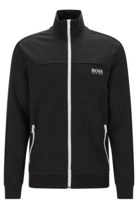 Blouson sweat Regular Fit en coton mélangé: «Jacket Zip», Noir
