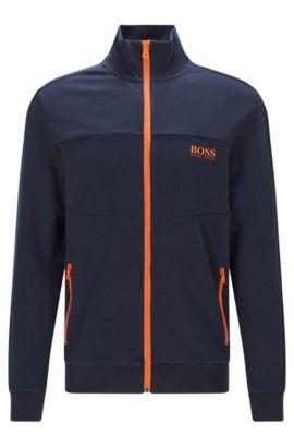Regular-Fit Sweatshirt-Jacke aus Baumwoll-Mix: 'Jacket Zip', Dunkelblau