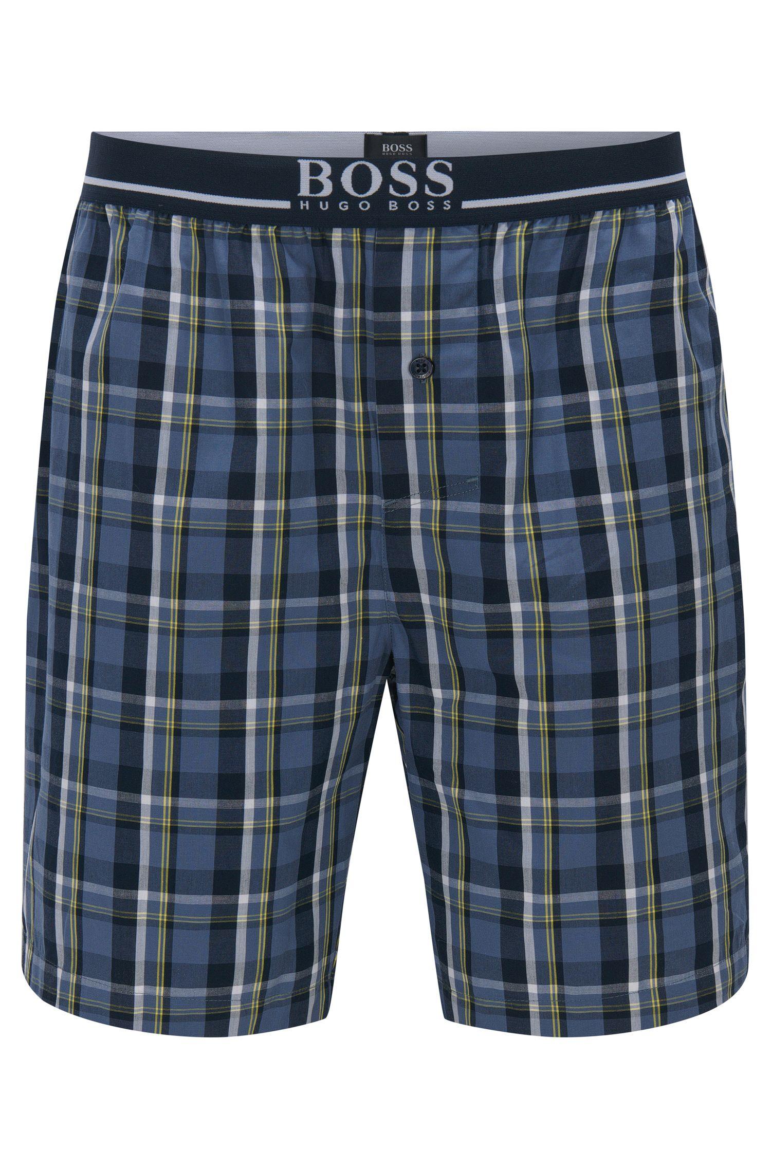 Karierte Pyjama-Shorts aus reiner Baumwolle: 'Short Pant EW'