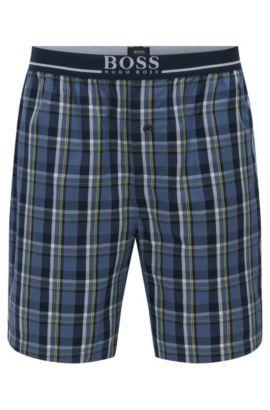 Karierte Pyjama-Shorts aus reiner Baumwolle: 'Short Pant EW', Blau