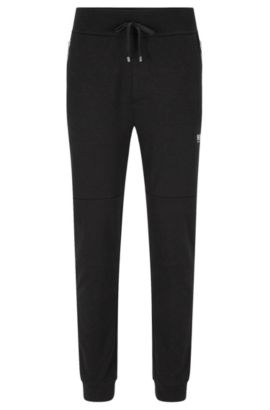Tracksuit bottoms in cotton blend with contrasting colour zips: 'Long Pant Cuffs', Black
