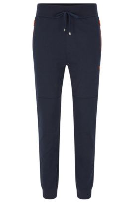 Tracksuit bottoms in cotton blend with contrasting colour zips: 'Long Pant Cuffs', Dark Blue