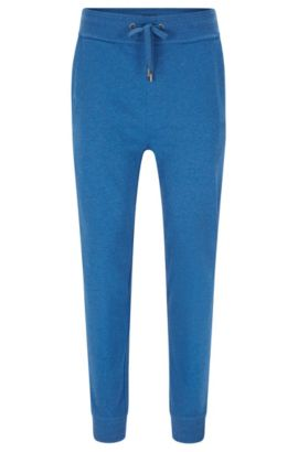 Pantalon en molleton de coton finement chiné : « Long Pant Cuffs », Bleu