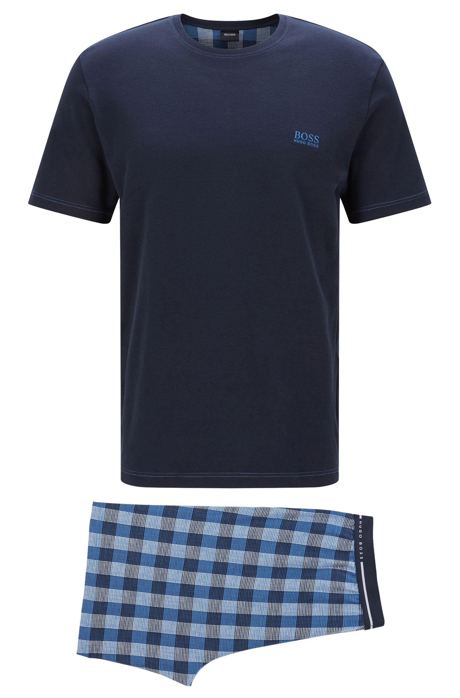 Pijama en algodón con shorts a cuadros: 'Set Short'