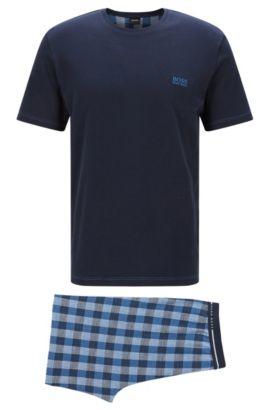 Pyjama van katoen met geruite short: 'Set Short', Blauw