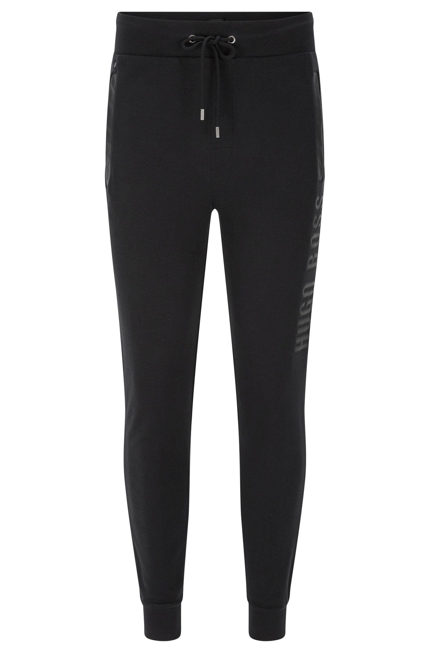 Pantaloni in felpa in cotone con dettagli in similpelle: 'Long Pant Cuffs'