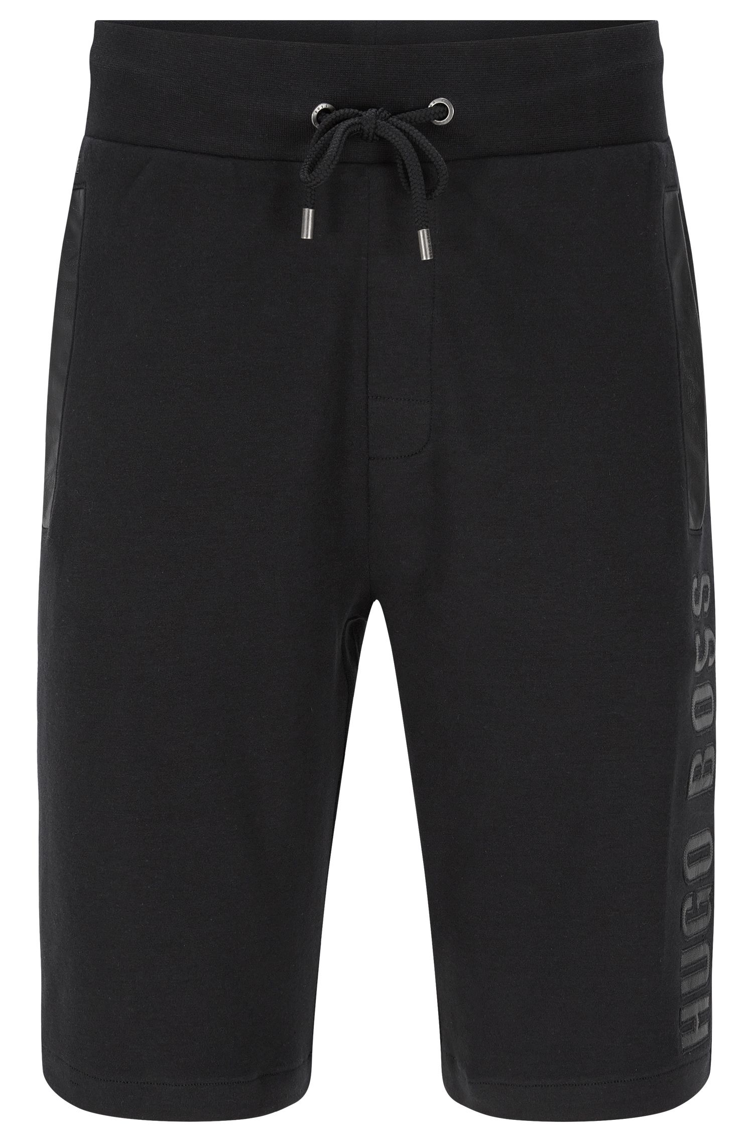 Sweat shorts in cotton with details in leather effect: 'Short Pant'
