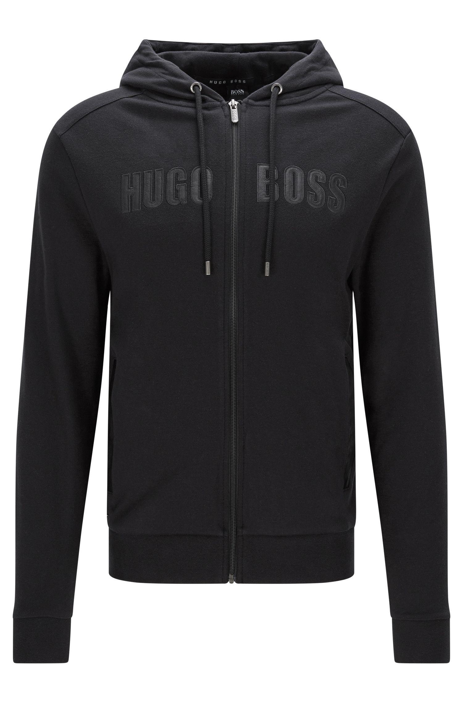 Sweatshirt-Jacke aus Baumwolle mit Details in Leder-Optik: 'Jacket Hooded'