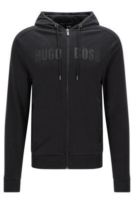 Chaqueta sudadera en algodón con detalles de imitación piel: 'Jacket Hooded', Negro