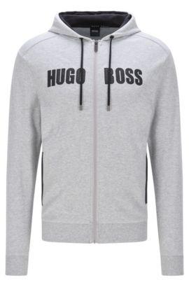 Sweatshirt-Jacke aus Baumwolle mit Details in Leder-Optik: 'Jacket Hooded', Grau