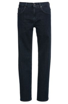 Relaxed-fit jeans in stretch cotton: 'C-KANSAS', Dark Blue