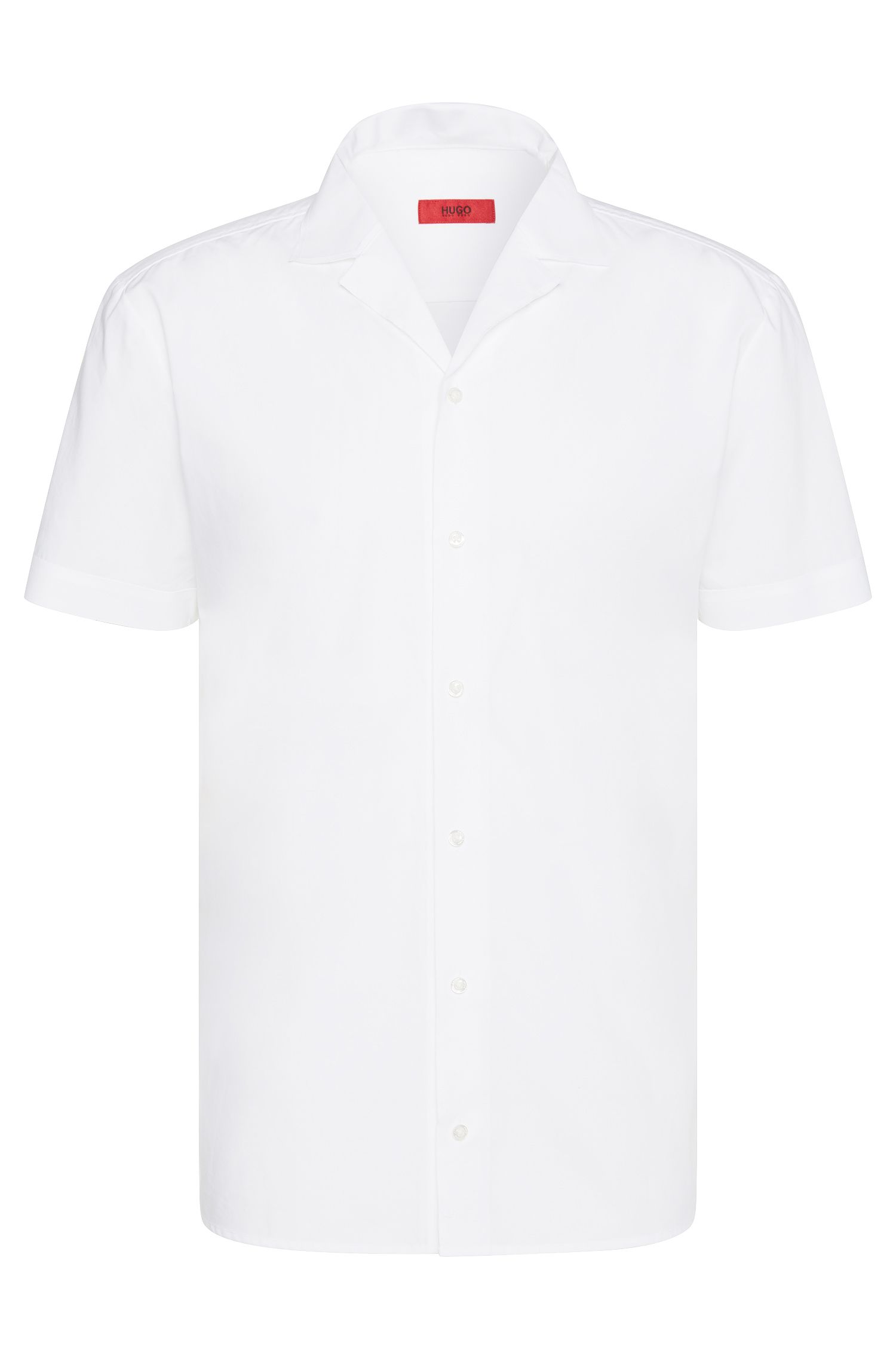 Plain-coloured relaxed-fit cotton shirt with lapel collar: 'Eepa'
