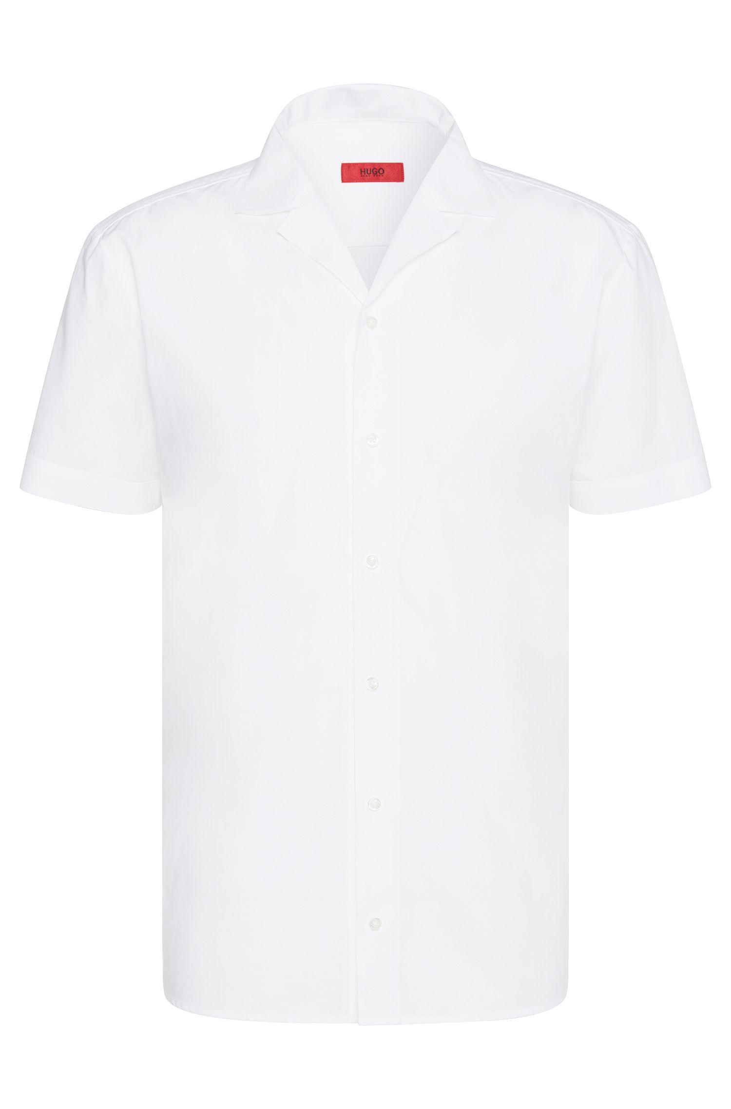 Camisa lisa relaxed fit en algodón con cuello con solapa: 'Eepa'