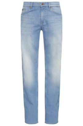 Verwaschene Slim-Fit Jeans aus elastischer Baumwolle: ´C-DELAWARE1`, Türkis