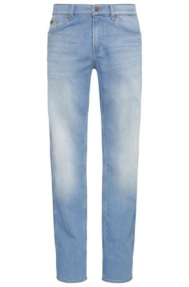 Faded slim-fit jeans in stretch cotton: 'C-DELAWARE1', Turquoise