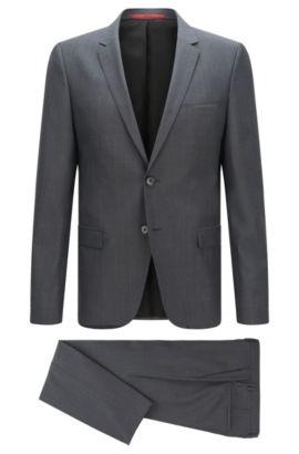 Gemusterter Slim-Fit Anzug aus Schurwolle: 'Arti/Heilo', Hellgrau