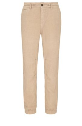 Pantaloni tapered fit in lino in stile pantaloni da jogging: 'Siman3-D', Beige