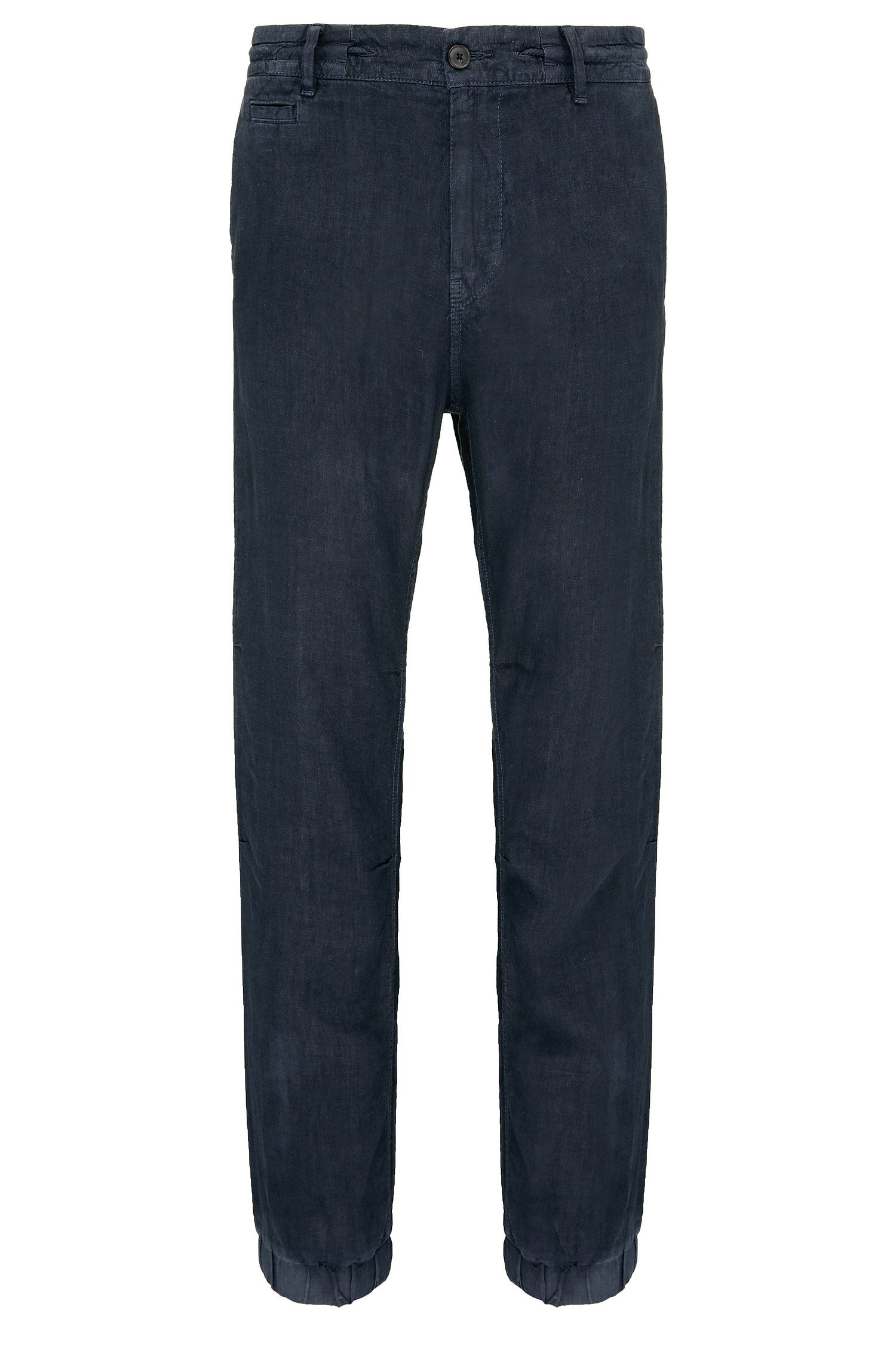 Tapered-fit jogger-style trousers in linen: 'Siman3-D'