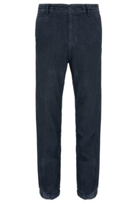 Tapered-fit jogger-style trousers in linen: 'Siman3-D', Dark Blue