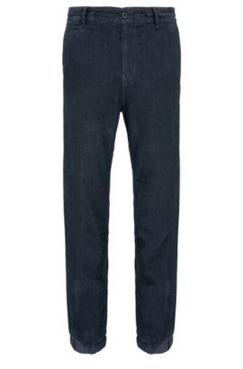 Pantalón tapered fit en lino al estilo de uno de chándal: 'Siman3-D', Azul oscuro