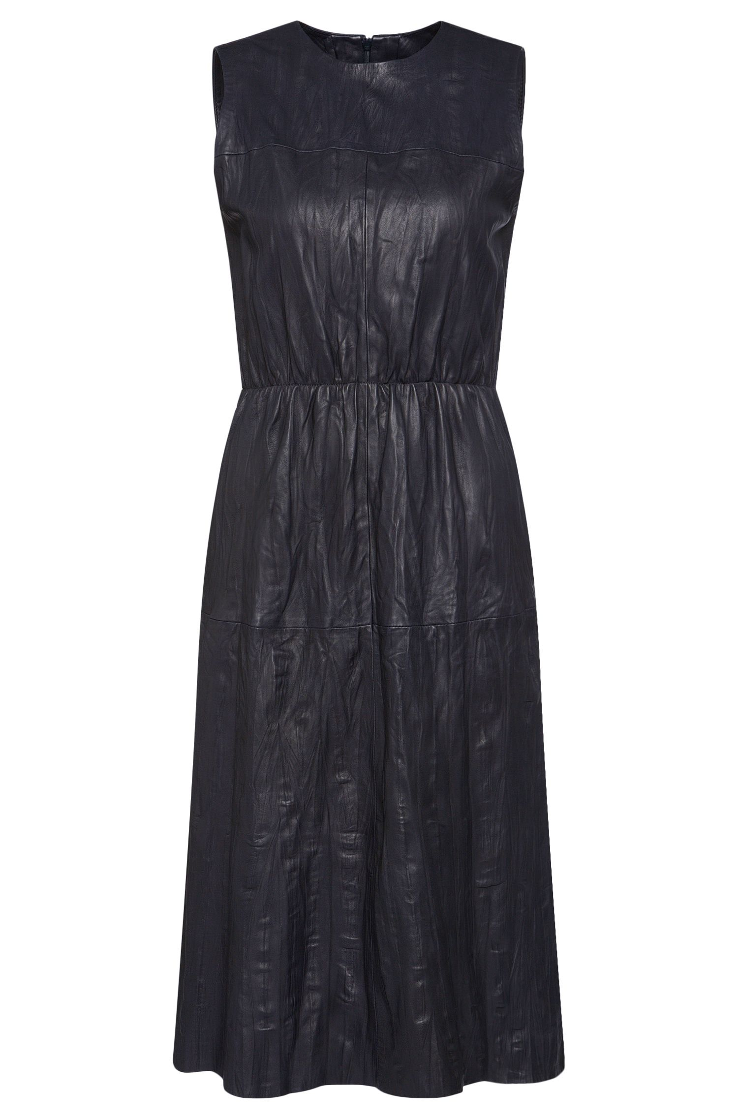 Crinkle-effect leather dress with belt: 'Sylvio'