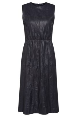 Vestido de piel de aspecto arrugado con cinturón: 'Sylvio', Azul oscuro