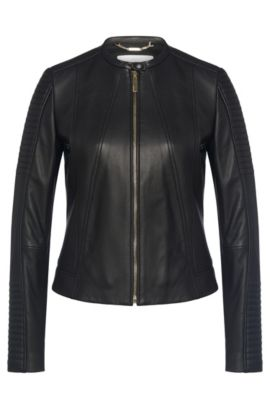 Biker-style leather jacket: 'Saviza', Black
