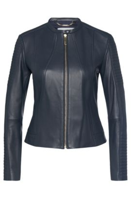 Biker-style leather jacket: 'Saviza', Open Blue