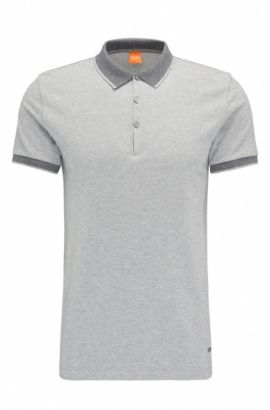 Polo Regular Fit en coton : « Pejo 1 », Gris chiné