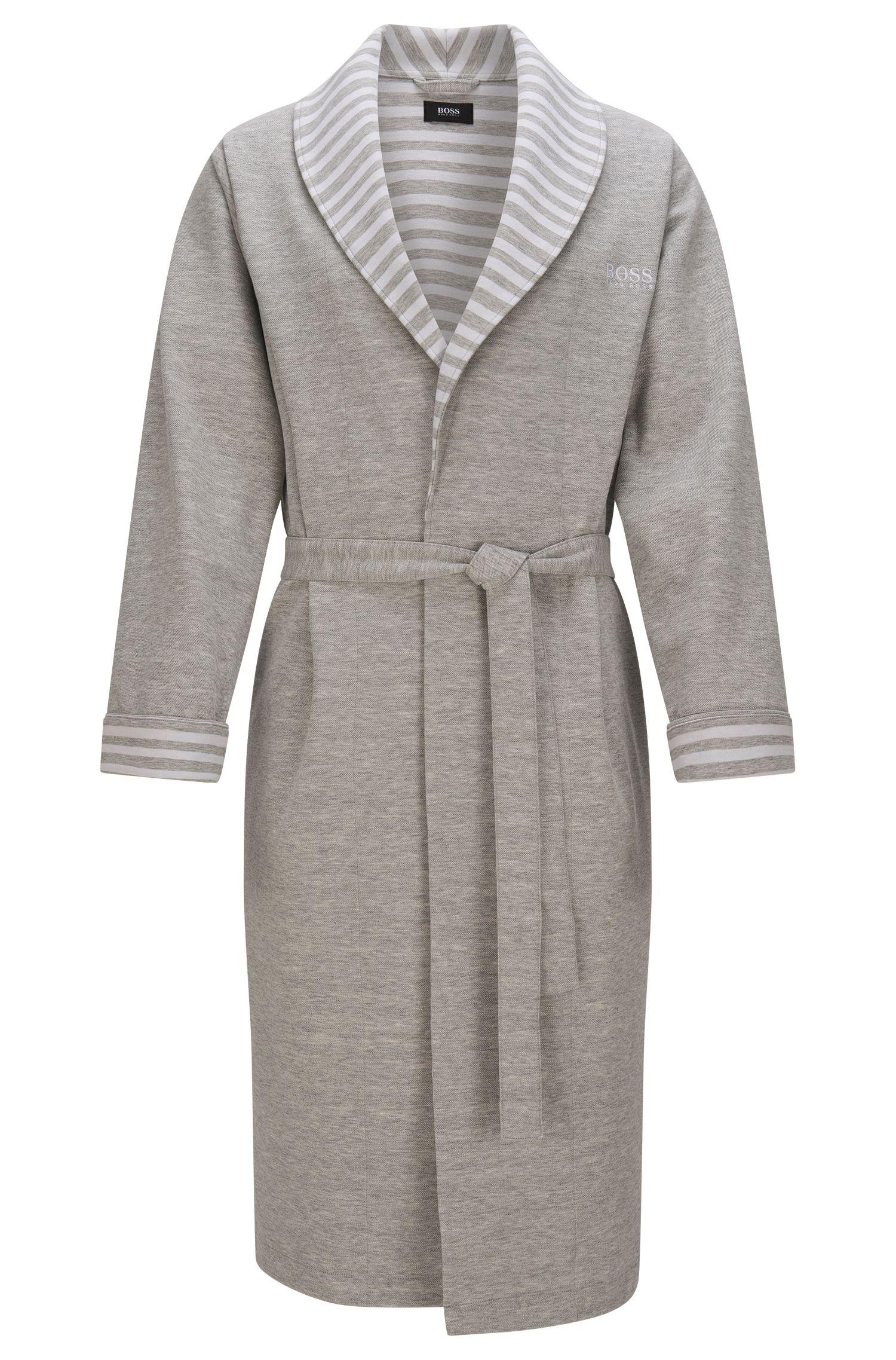 Batín en algodón elástico con detalles a rayas: 'Shawl Collar Robe'