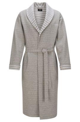 Batín en algodón elástico con detalles a rayas: 'Shawl Collar Robe', Gris