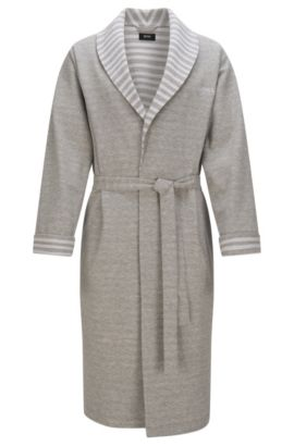 Dressing gown in stretch cotton with striped details: 'Shawl Collar Robe', Grey