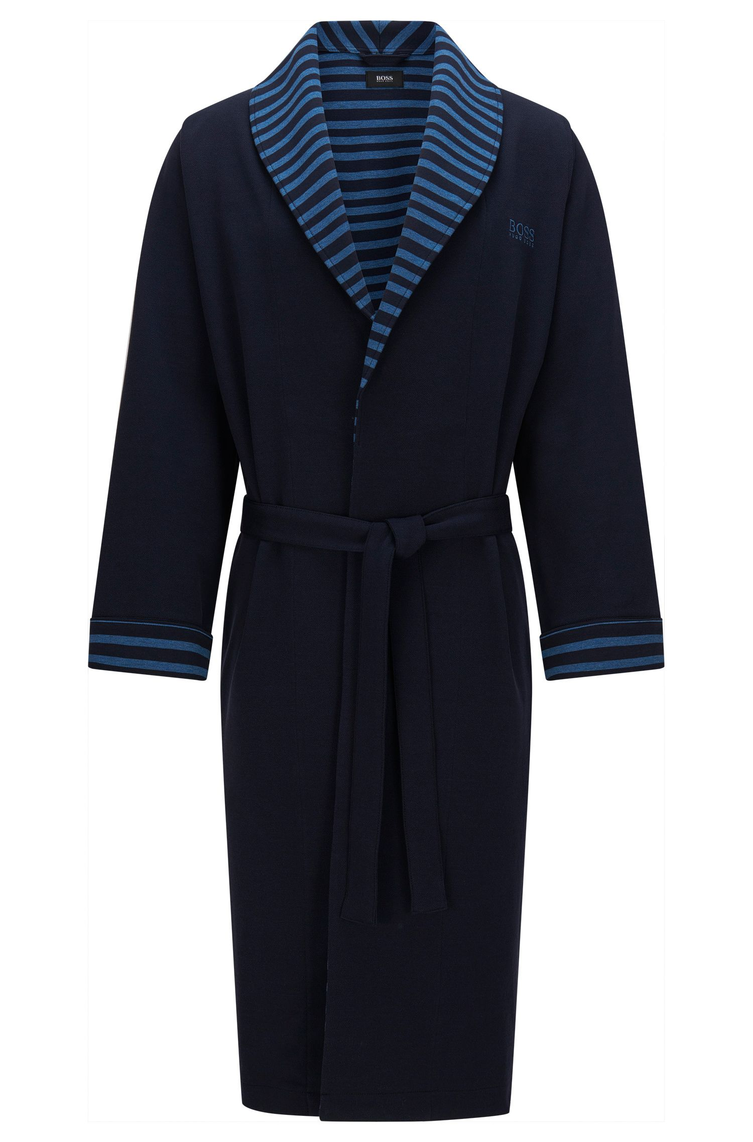 Dressing gown in stretch cotton with striped details: 'Shawl Collar Robe'