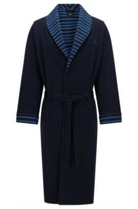 Dressing gown in stretch cotton with striped details: 'Shawl Collar Robe', Dark Blue