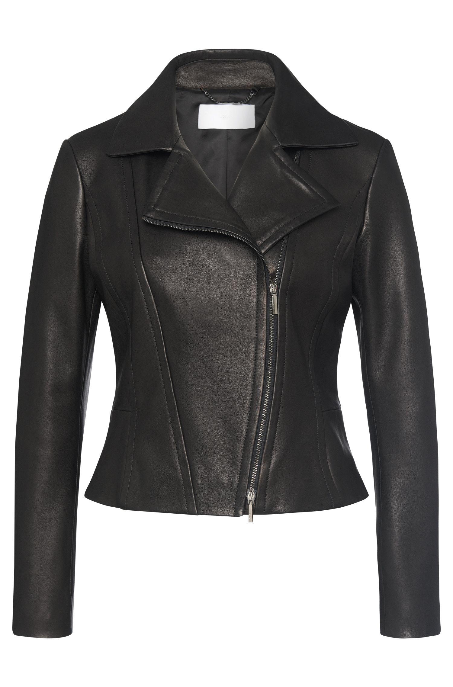 Leather jacket with asymmetric zip and peplum: 'Sandalia'