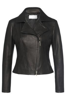 Leather jacket with asymmetric zip and peplum: 'Sandalia', Black