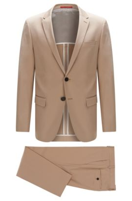 Costume Slim Fit uni en coton extensible: «C-Harvey/C-Getlin», Beige