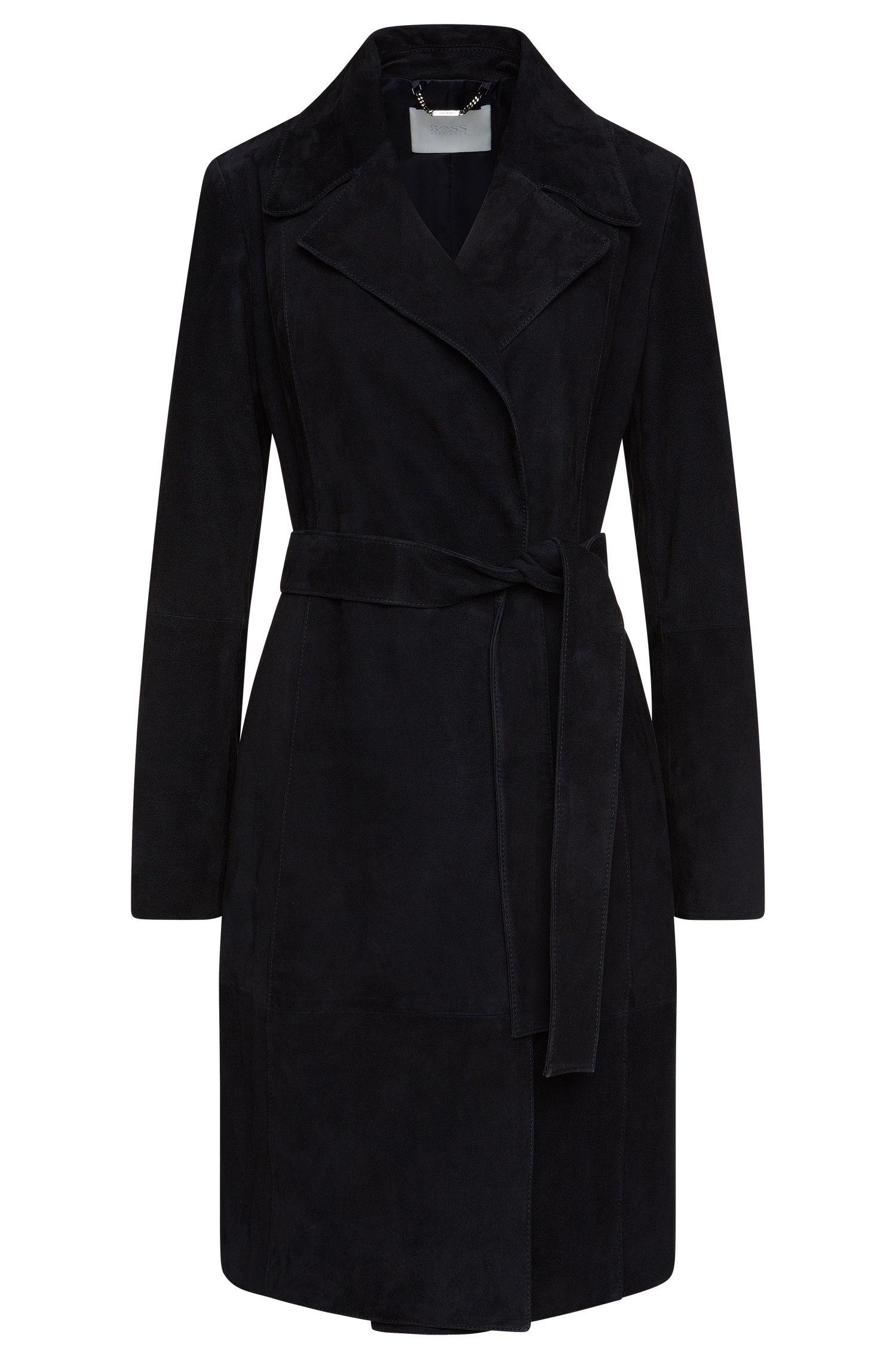 Taillierter Mantel aus Veloursleder mit Bindegürtel: 'Socorro'