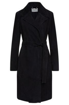Fitted coat in suede with wrap belt: 'Socorro', Open Blue
