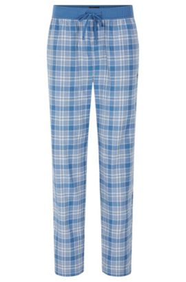 Checked pyjama bottoms in cotton with a drawstring waistband: 'Long Pant CW', Light Blue