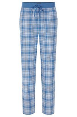 Karierte Pyjama-Hose aus Baumwolle mit Tunnelzugbund: 'Long Pant CW', Hellblau
