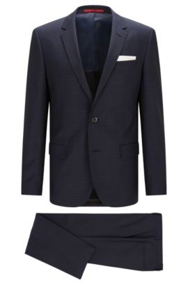 Striped slim-fit suit in new wool: 'C-Hutson1/C-Gander', Blue