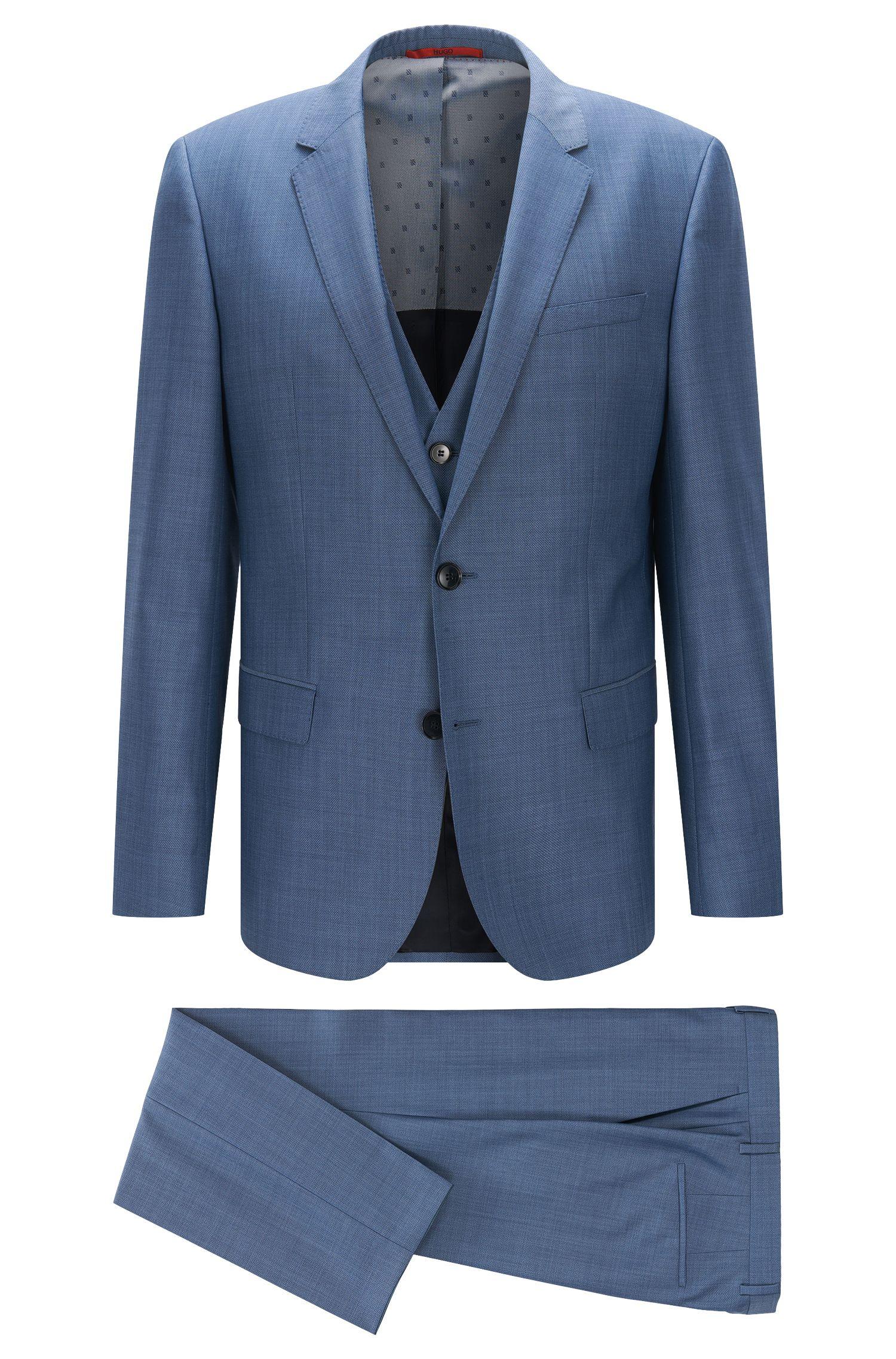Slim-Fit Anzug aus strukturierter Schurwolle mit Weste: 'C-Huge1/C-Genius/WE'