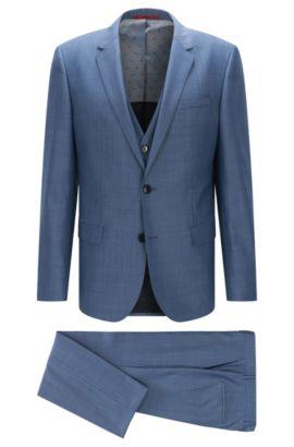 Slim-Fit Anzug aus strukturierter Schurwolle mit Weste: 'C-Huge1/C-Genius/WE', Türkis