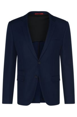 Slim-fit jacket in new-wool blend with cotton: 'Artyn', Dark Blue