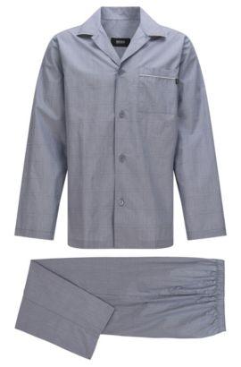 Pyjama en coton à poche-poitrine et ceinture élastique: «Pyjama2», Gris chiné